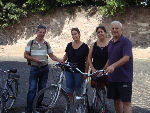 bicycle riding along Via Appia Antica, Rome